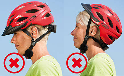 A cycle helmet sitting incorrectly.
